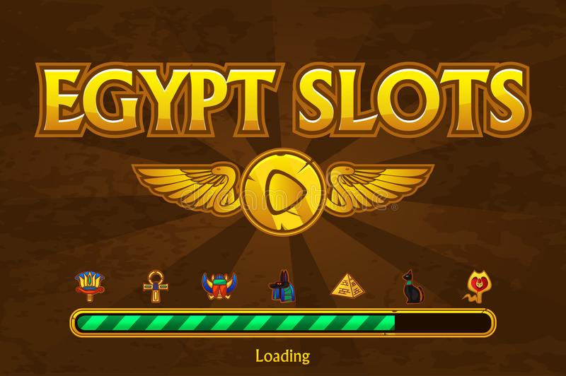 Egyptian slots on background and casino icons. Button play and loading game vector illustration