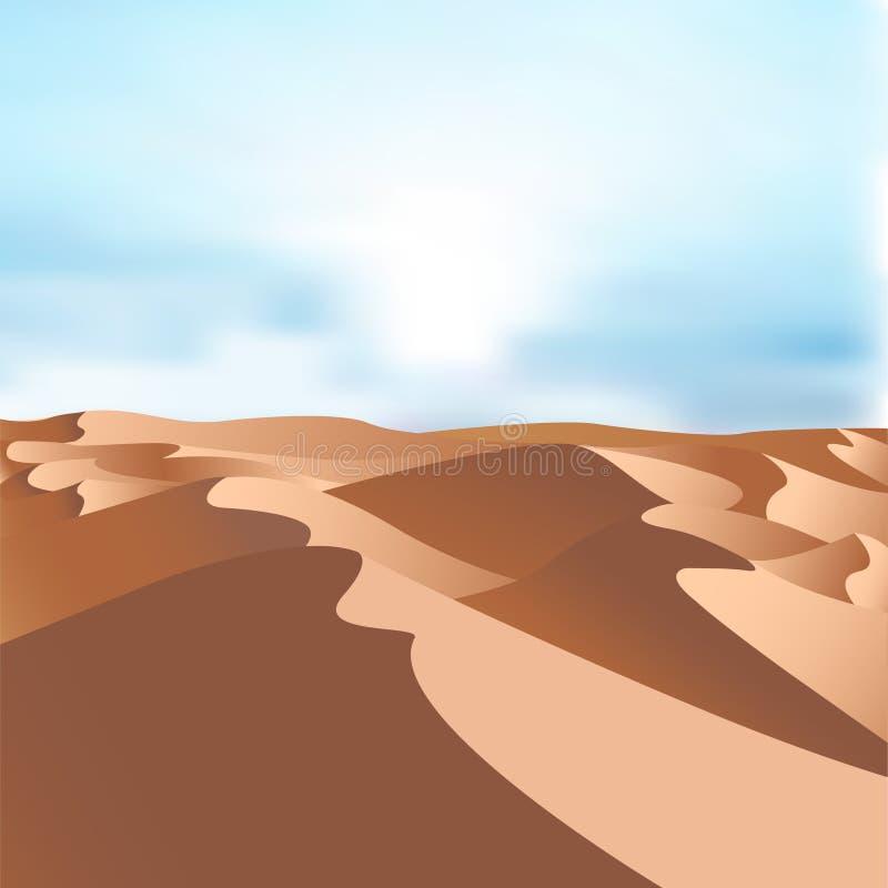 Vector Egyptische het landschapsachtergrond van woestijnduinen Zand in aardillustratie royalty-vrije illustratie