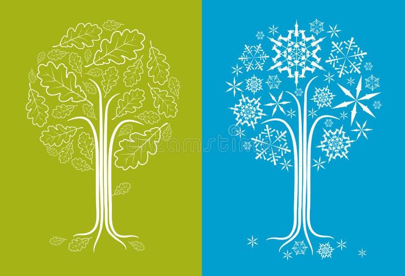 Vector Eichenbaum in den verschiedenen Jahreszeiten lizenzfreie abbildung