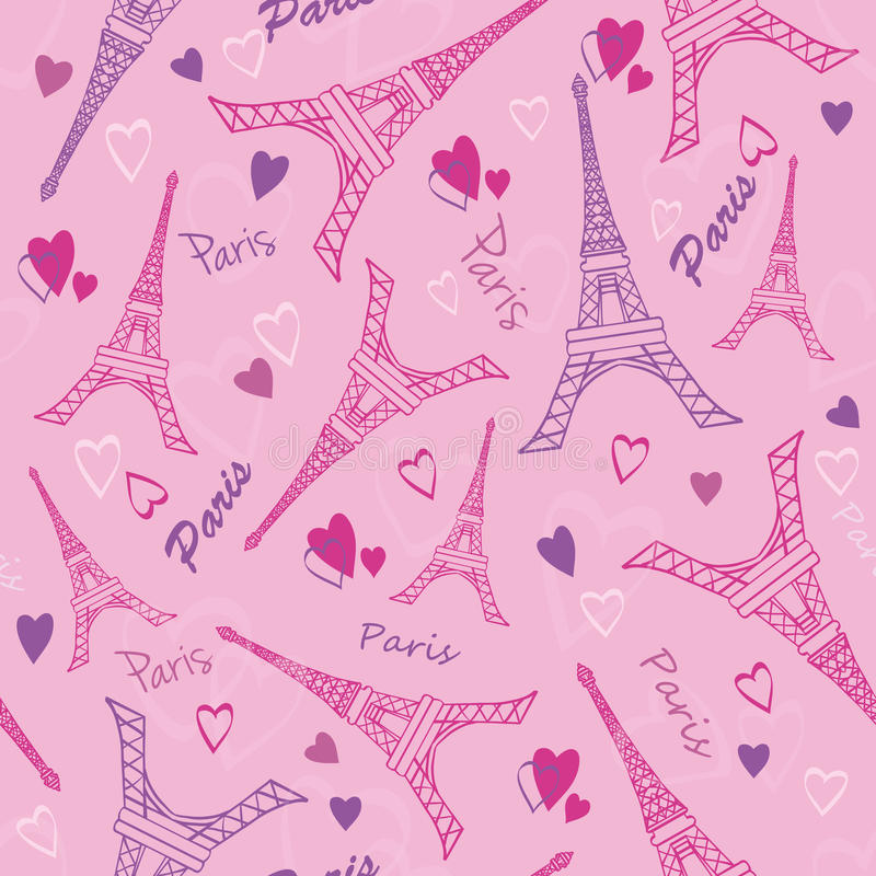 Free Vector Eifel Tower Paris Love Pink Purple Drawing Seamless Pattern With Romantic Hearts. Perfect For Travel Themed Stock Photography - 69067202