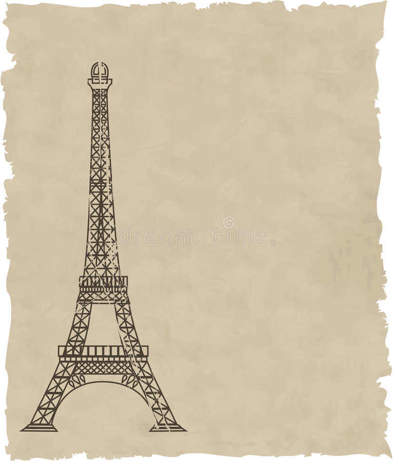 The vector eiffel tower on old paper royalty free illustration