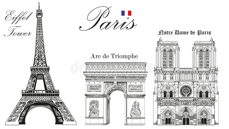 Vector Eiffel Tower, Triumphal Arch and Notre Dame Cathedral. Vector hand drawing image royalty free illustration