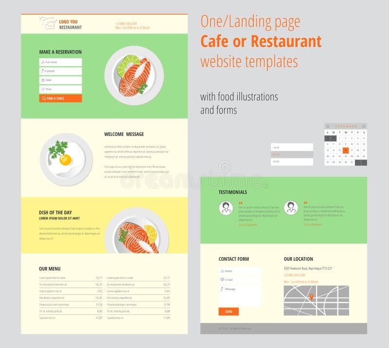 Vector ein/Landung Seite Café- oder Restaurantwebsiteschablonen mit Lebensmittelillustrationen und -formen stock abbildung