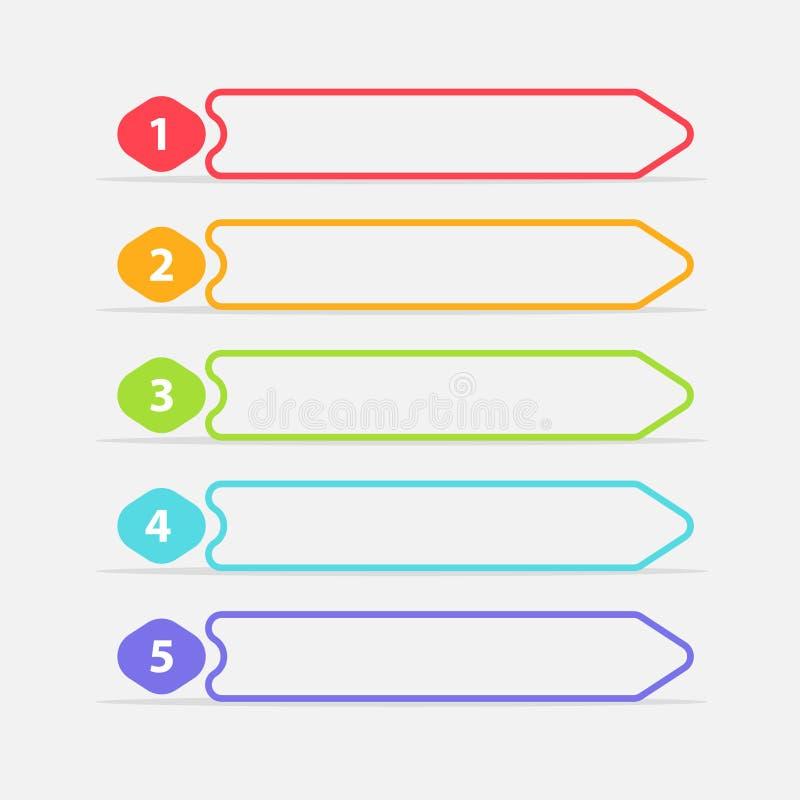 Vector ein zwei drei vier fünf Schritte, Fortschritt oder Klassifizierungsfahnen mit bunten Tags lizenzfreie abbildung