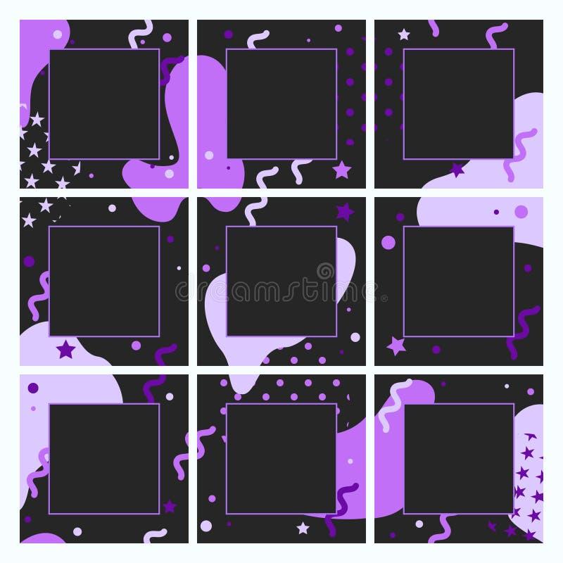 Vector eindeloos editable malplaatje voor sociale netwerken Ontwerp vierkante achtergronden voor sociale media royalty-vrije illustratie