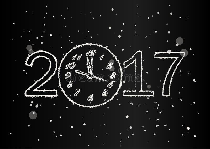 Vector einen 2017-guten Rutsch ins Neue Jahr-Hintergrund mit Uhr und Schnee stock abbildung