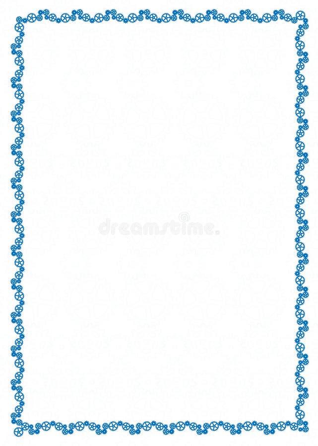 Vector einfache blaue Rahmen Grenze mit Gangrädern für Diplom, Zertifikat lizenzfreie abbildung