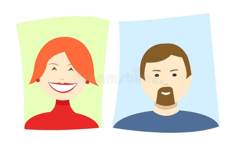 Vector einfache Karikaturikonen einer Frau und des Mannes lizenzfreie abbildung