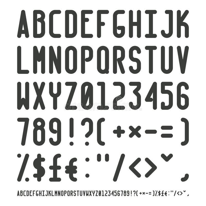Vector einfachen schmalen Entwurfsguß mit Versalienbuchstaben von lateinischen charset Interpunktionszeichen und Zahlen vektor abbildung