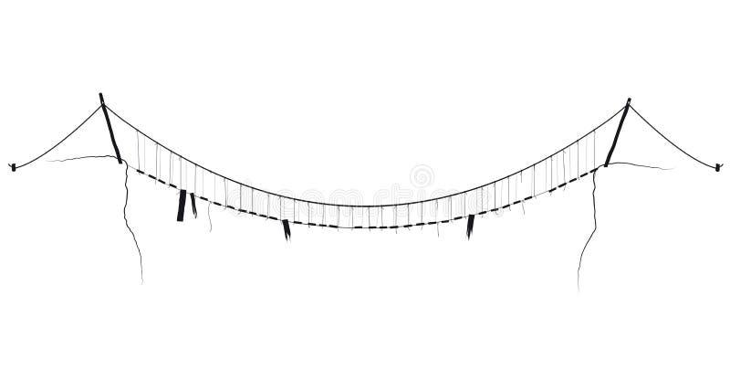 Vector einfaches schwarzes Symbol der hängenden Brücke der Seilsuspendierung lizenzfreie abbildung