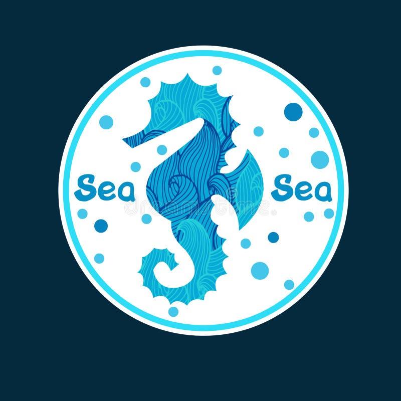 Vector einfarbige Hand gezeichnete zentagle Illustration des Seepferdchens stock abbildung