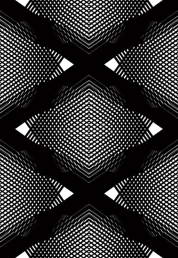 Vector einfarbiges gestreiftes illusive endloses Muster, Kunst continuou stock abbildung