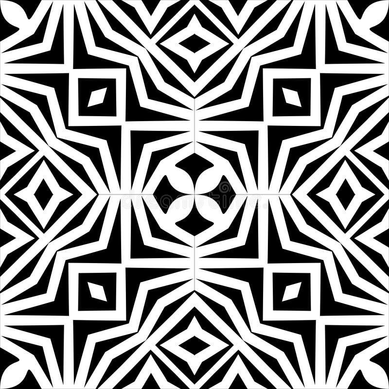 Vector einfarbiges nahtloses Muster, abstrakte geometrische Blumenverzierungsbeschaffenheit lizenzfreie abbildung