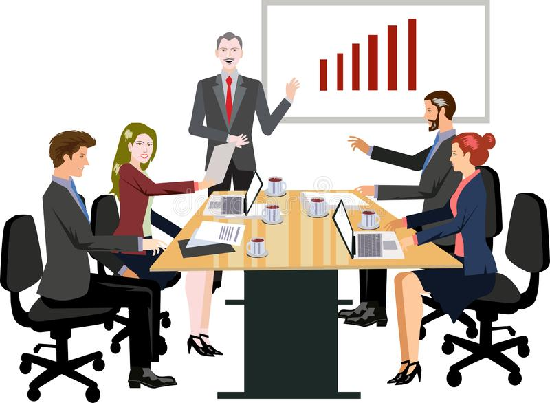 Vector - ejemplo de la reunión de negocios stock de ilustración