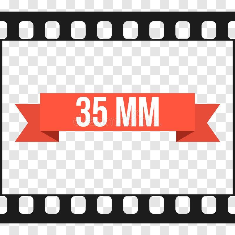 Vector ejemplo de la tira de la película de 35 milímetros en transparente ilustración del vector