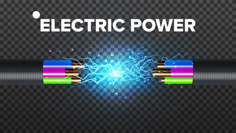 Vector eléctrico del cable de la rotura Circuito eléctrico Poder industrial de la red Relámpago que brilla intensamente realista  ilustración del vector
