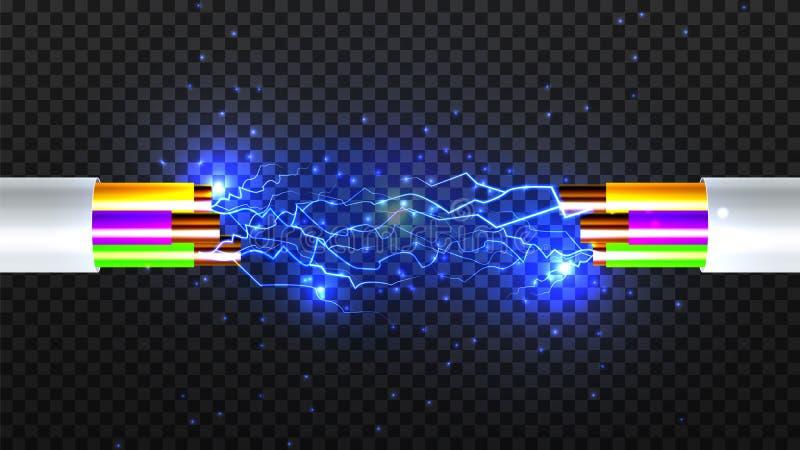 Vector eléctrico del cable de la rotura Electricista Rubber Cord Alambre de cobre Chispas del circuito ejemplo aislado realista 3 stock de ilustración