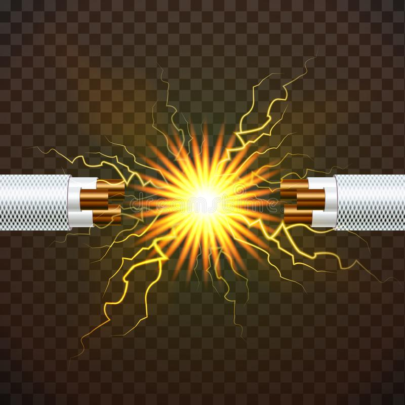 Vector eléctrico del cable de la rotura Electricista Rubber Cord Alambre de cobre Chispas del circuito ejemplo aislado realista 3 libre illustration