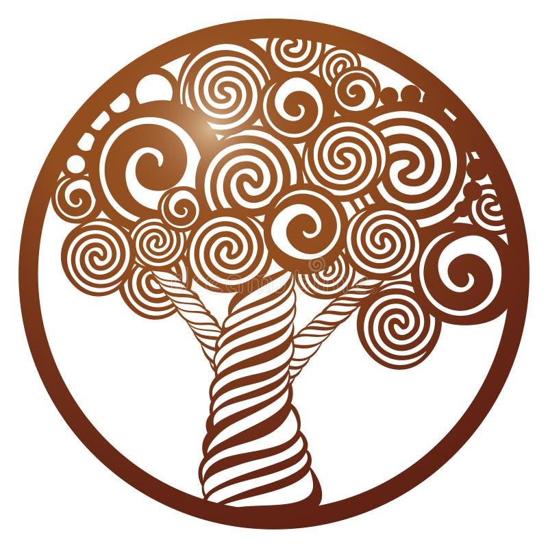 Vector el árbol de la plantilla en marco redondo con el modelo a cielo abierto tallado ilustración del vector
