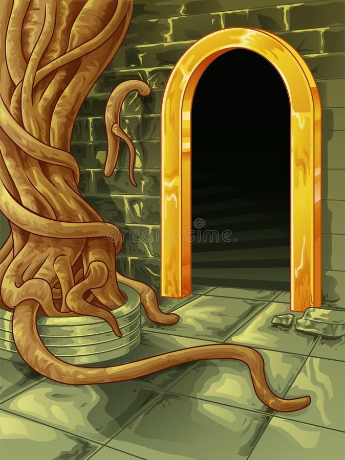 Vector el árbol grande en la fuente de la entrada de la cueva ilustración del vector