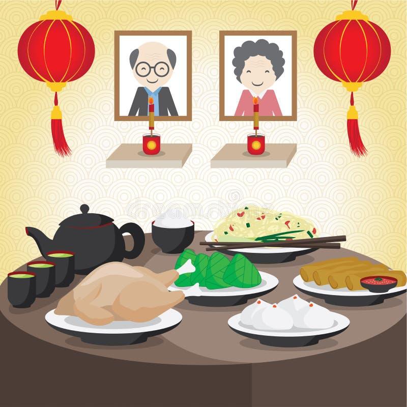 Vector el Año Nuevo chino, familia de China celebran en festival de fantasma stock de ilustración