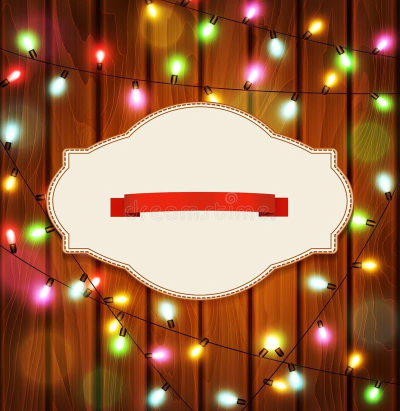 Vector el Año Nuevo, modelo de la Navidad con las guirnaldas en los vagos de madera stock de ilustración