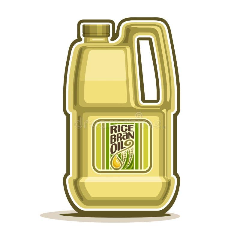 Vector el aceite plástico amarillo grande del salvado de arroz de la botella del logotipo libre illustration
