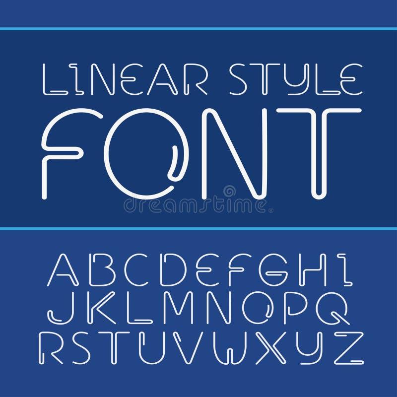 Vector el alfabeto simple y minimalistic linear de la fuente - en la línea estilo ilustración del vector