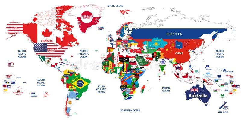 Vector el alto ejemplo detallado del mapa del mundo articulado con las banderas de países stock de ilustración