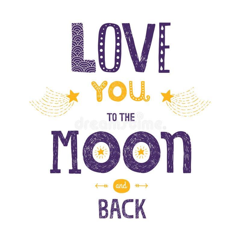 Vector el amor de las letras usted a la luna y a la parte posterior del yhe libre illustration