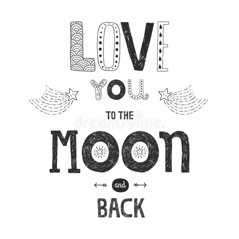 Vector el amor de las letras usted a la luna y a la parte posterior del yhe stock de ilustración