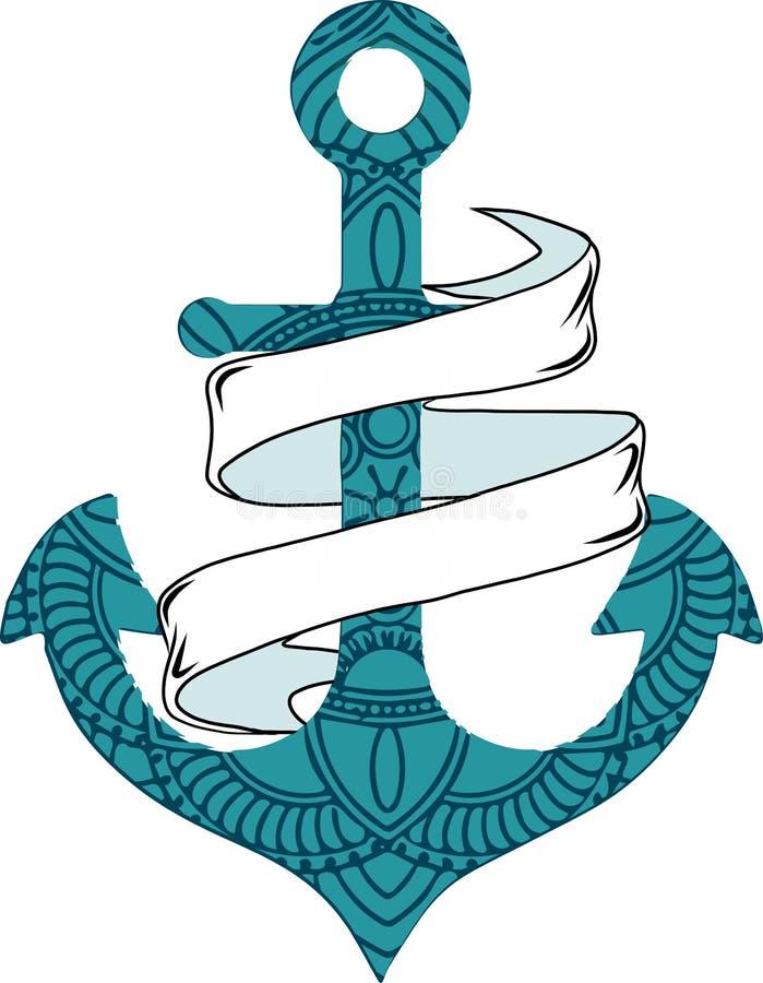 Vector el ancla náutica del ejemplo con la cuerda y la cinta ilustración del vector