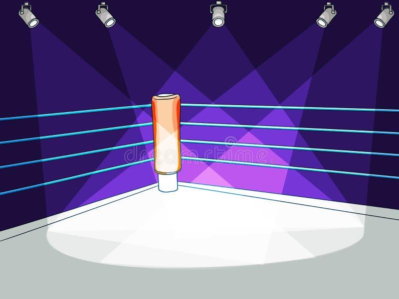 Vector el anillo plano del club del boxeo con la luz del proyector stock de ilustración