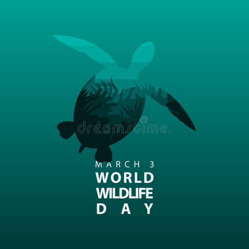 Vector el arrecife de coral en cartel o fondo del día de la fauna del mundo de la silueta de la tortuga de mar ilustración del vector