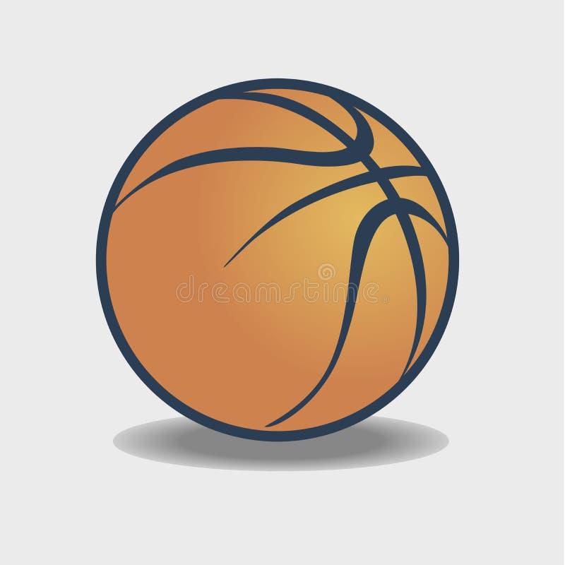 Vector el arte icónico anaranjado del logotipo del símbolo del baloncesto con la sombra gris ilustración del vector