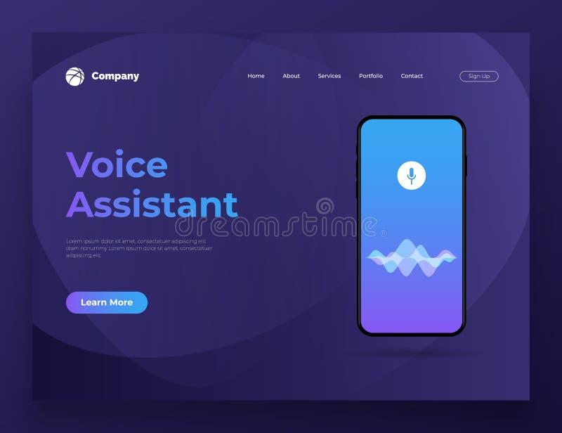 Vector el ayudante personal del ejemplo y el reconocimiento vocal en el app móvil Para el desarrollo del sitio web y del sitio we ilustración del vector