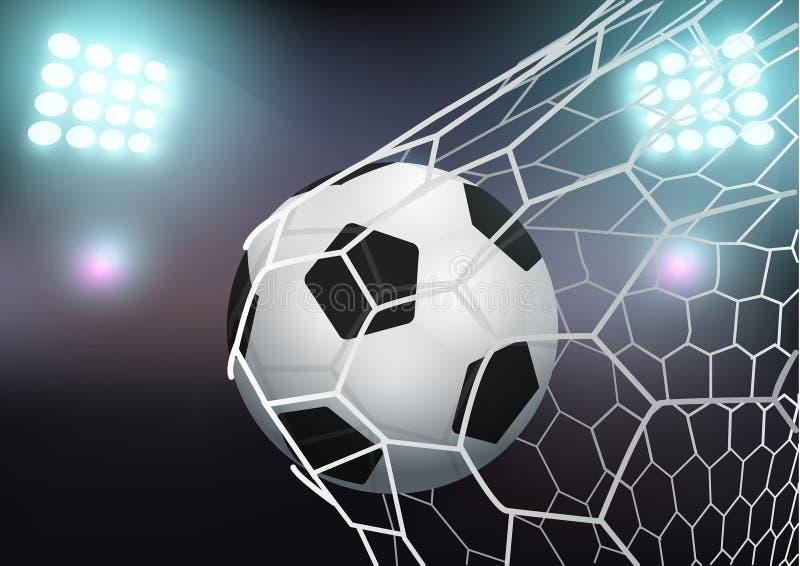 Vector el balón de fútbol en la red de la meta en estadio ilustración del vector