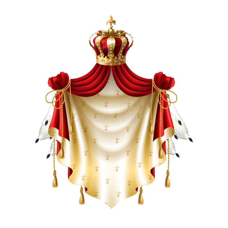 Vector el baldaquín real con la corona, piel de la franja stock de ilustración