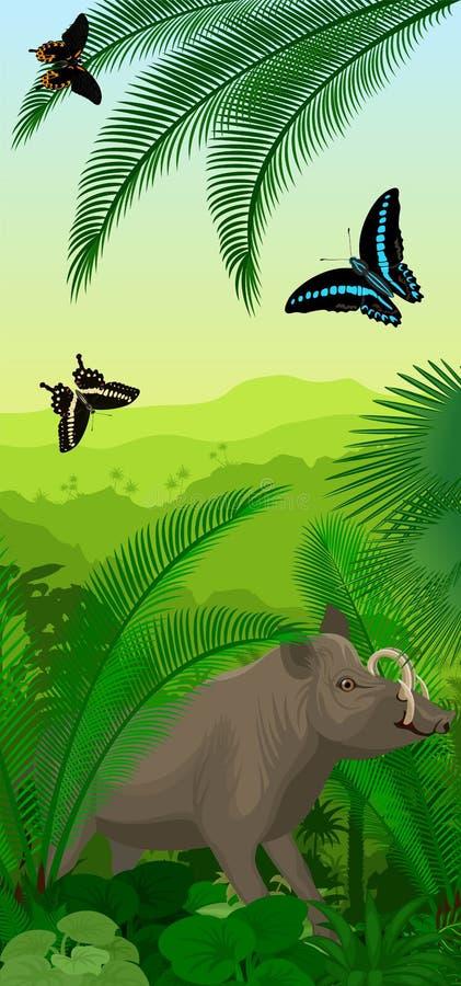Vector el baner vertical de la selva tropical de la selva con el babirusa y las mariposas del norte de Sulawesi libre illustration