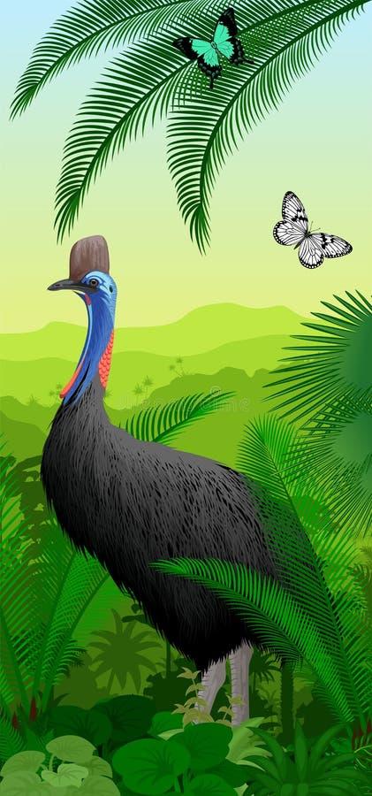 Vector el baner vertical de la selva tropical de la selva con el casuario y butterfliy stock de ilustración