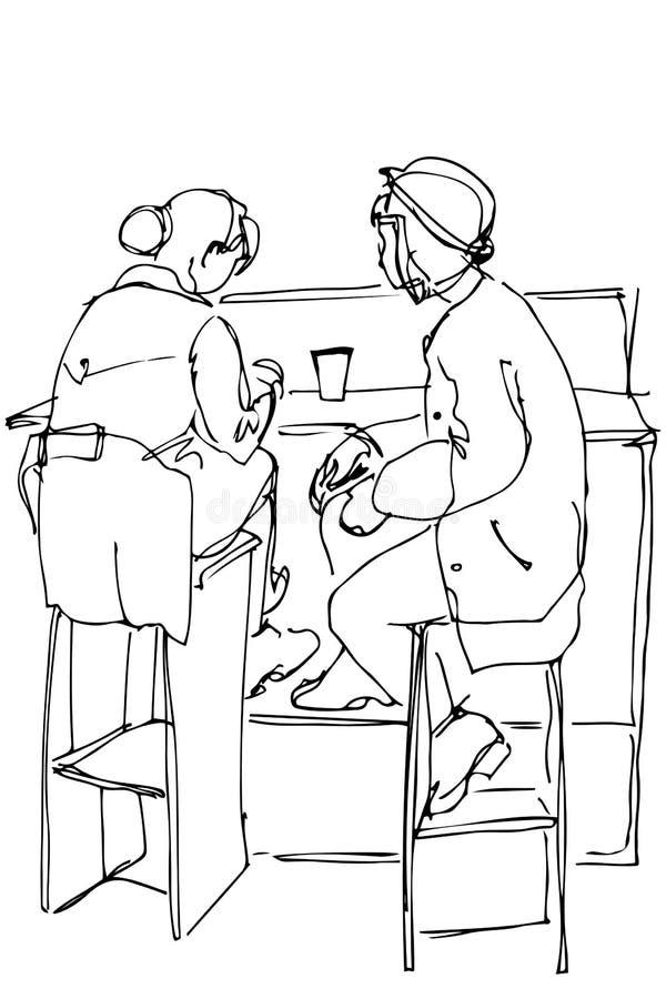 Vector el bosquejo de dos mujeres en altos taburetes que beben el café stock de ilustración