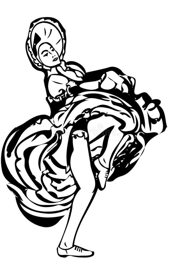 Vector el bosquejo de una muchacha que baila la falda del cancán libre illustration