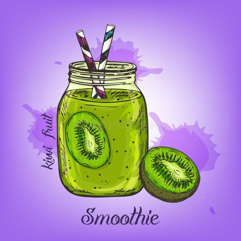 Vector el bosquejo del smoothie del kiwi en la botella de cristal con la paja Alinee la bebida dibujada mano de la fruta aislada  stock de ilustración