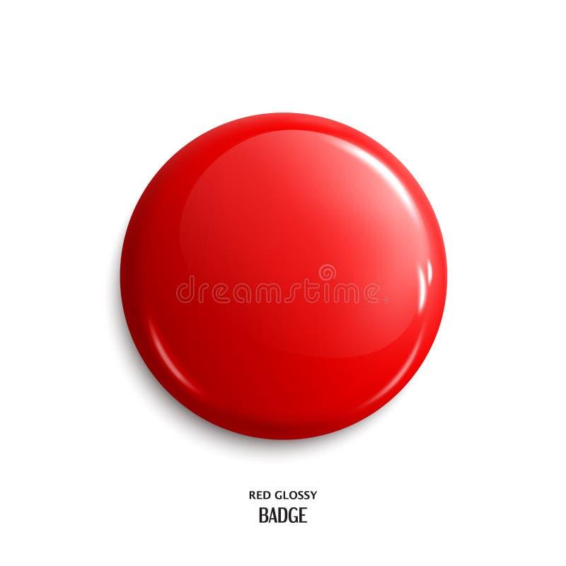 Vector el botón brillante rojo en blanco de la insignia o del web Vector ilustración del vector
