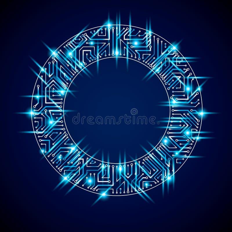 Vector el círculo chispeante de la placa de circuito, abst de las tecnologías digitales ilustración del vector