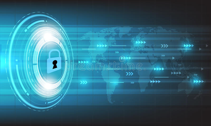 Vector el círculo y el mapa del mundo de la tecnología en fondo azul mecanismo de seguridad, concepto de la protección stock de ilustración