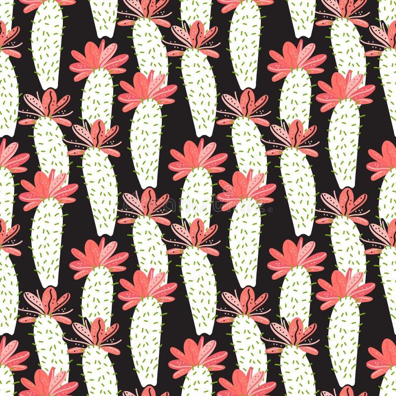 Vector el cactus con el modelo de flores aislado en fondo negro libre illustration