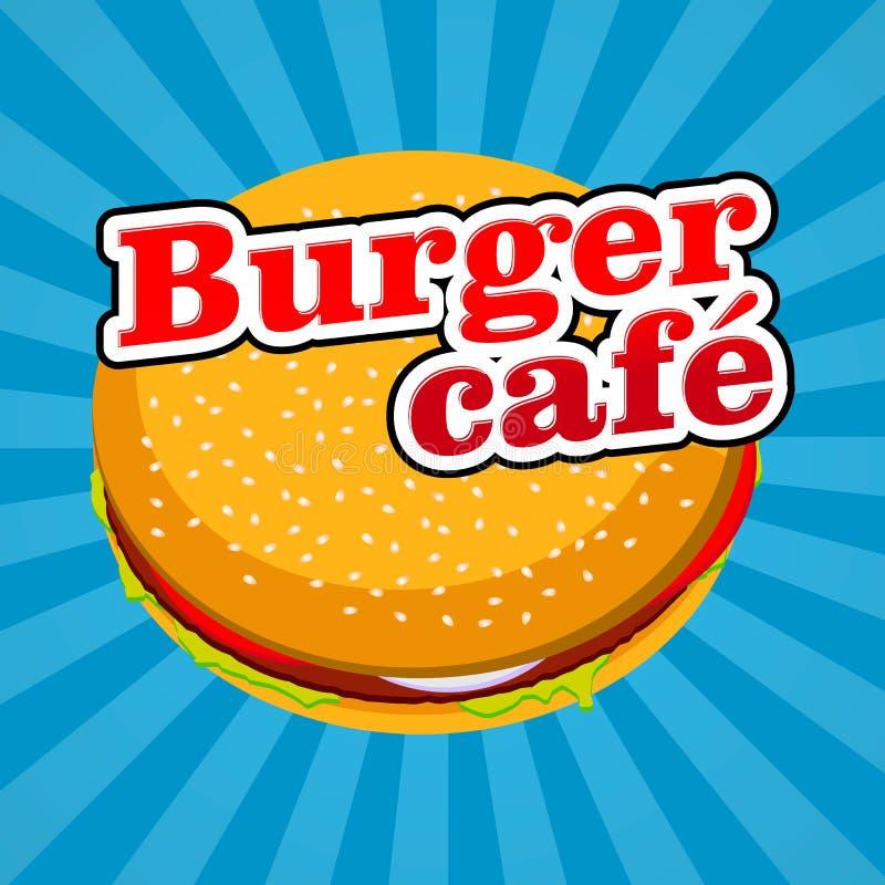 Vector el café de la hamburguesa del logotipo del ejemplo y haga compras icono Para calificar, etiqueta engomada, producto de la  stock de ilustración