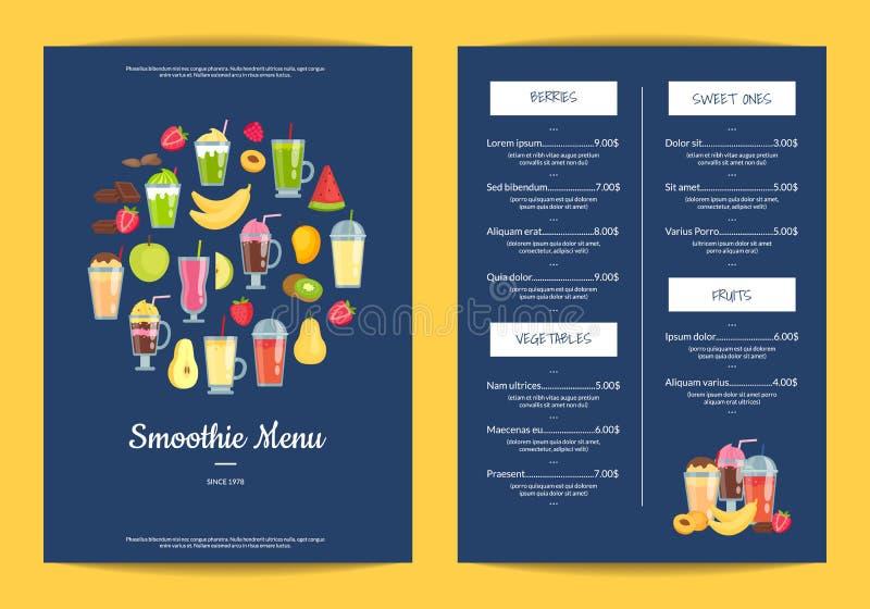 Vector el café de los elementos del smoothie o el ejemplo plano de la plantilla del menú del restaurante stock de ilustración