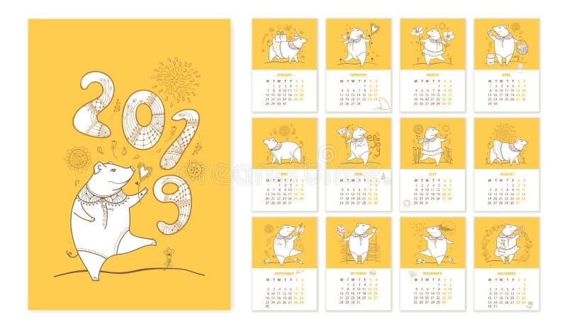 Vector el calendario de pared por 2019 años con el cerdo lindo del esquema en blanco y anaranjado La semana empieza de lunes Símb ilustración del vector